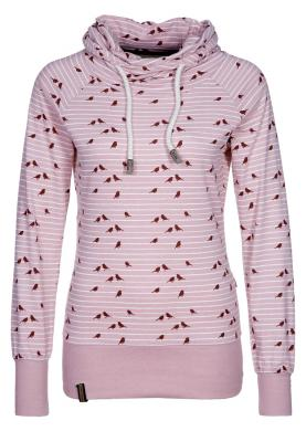Roze katoenen top met capuchon en vogelprint