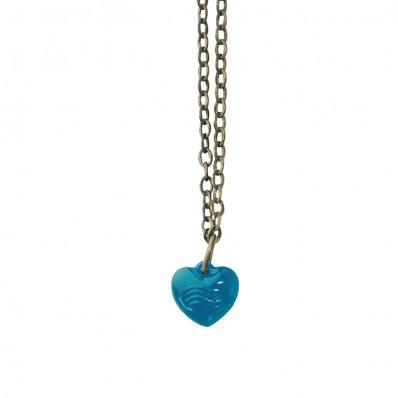 Bronskleurige lange ketting met petrol blauwe hart hanger met golven