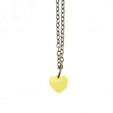 Bronskleurige lange ketting met gele hart hanger met golven print